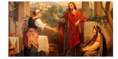Desenho com fundo de casa da época bíblica. Jesus em pé falando com uma mulher em pé, Marta, que aponta para Maria, sentada ao lado de Jesus.