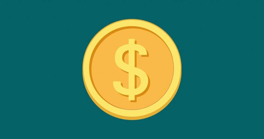 Fundo verde com uma moeda