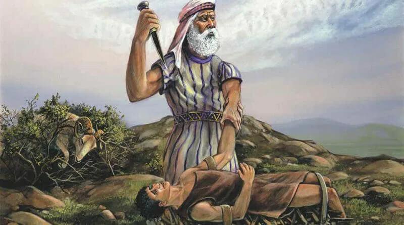 Retrato de uma passagem da Bíblia. Um homem idoso representando Abraão segura uma ponta de lança em uma mão apontando para seu filho, Isaque, deitado sob uma rocha a sua frente.