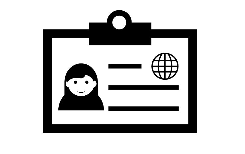 Desenho de uma carteira de identidade em preto e branco.