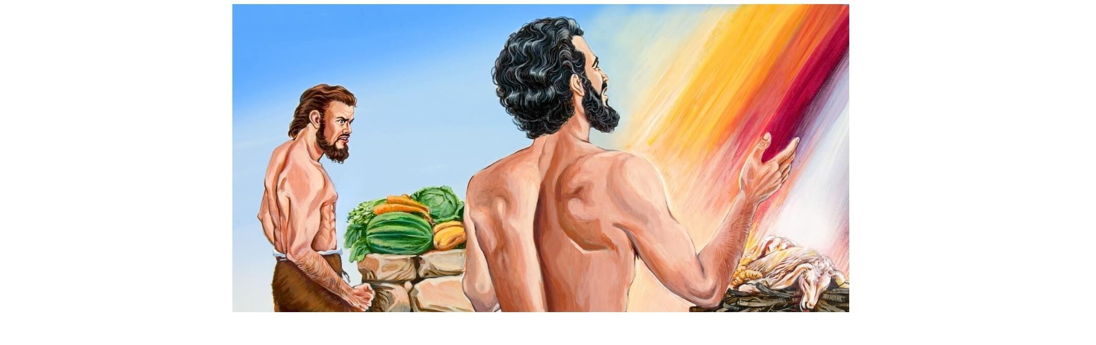 Desenho de Caim e Abel oferecendo seus sacrifícios para Deus.
