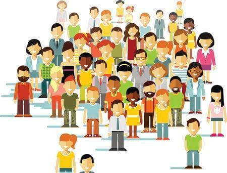 Desenho de conjunto de pessoas diversas