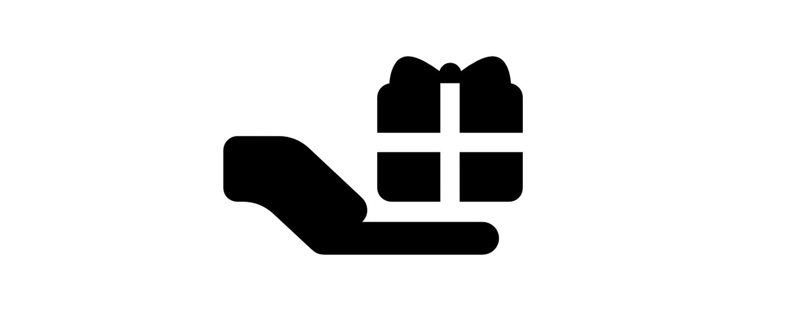 Desenho em preto e branco de uma mão estendida carregando um pacote de presente