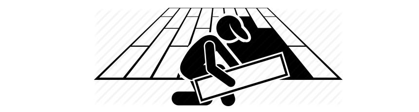 Desenho em preto e branco de homem colocando piso no chão.