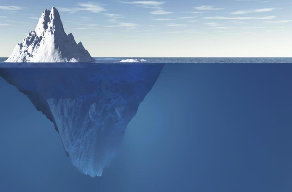 Imagem de um iceberg.