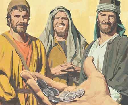 Desenho de uma mão com moedas estendida na direção de três homens.