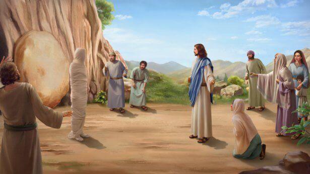 Desenho de Jesus ressuscitando Lázaro.