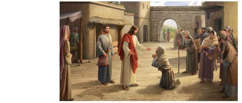 Desenho de uma pessoa ajoelhada diante de Jesus suplicando.