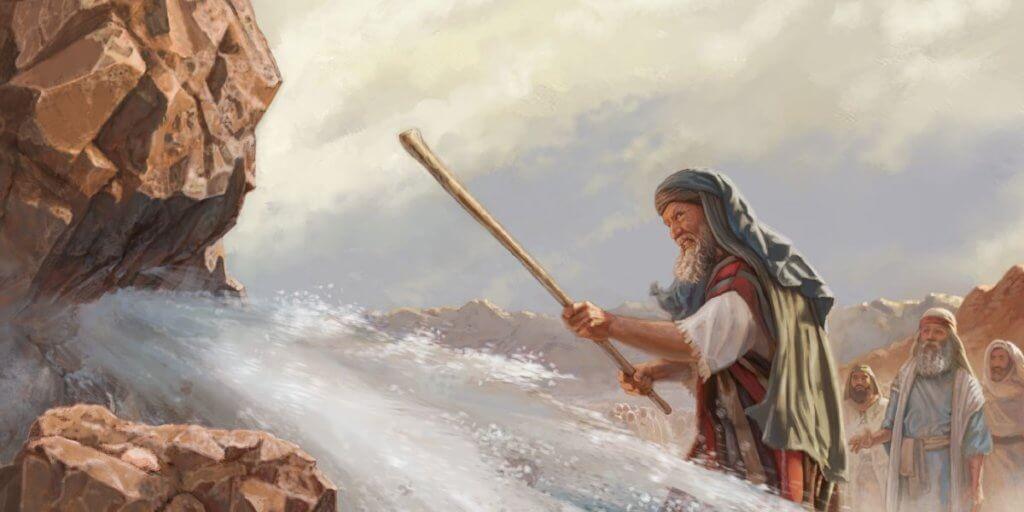 Desenho de Moisés batendo numa rocha com seu cajado e muita água saindo dela.