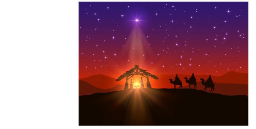 Fundo estrelado. Desenho dos três pastores chegando de camelo até a manjedoura de Jesus.