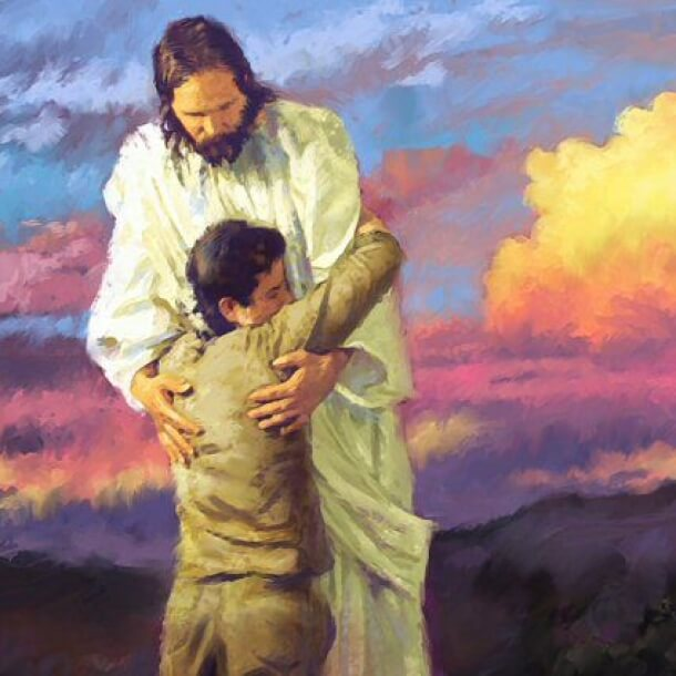Desenho de Jesus abraçando uma pessoa ajoelhada aos seus pés.