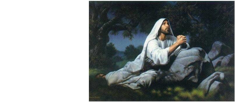 Desenho de Jesus sentado no chão olhando para o alto como se estivesse conversando com Deus.